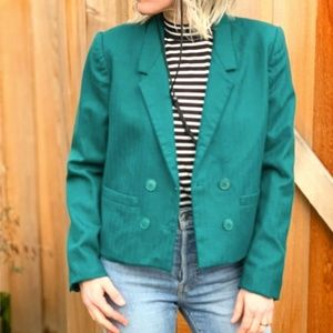 Vintage Style Crop Wool Double Breasted Blazer
